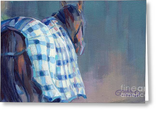 Animal Commission Greeting Cards - Blue Plaid Greeting Card by Kimberly Santini