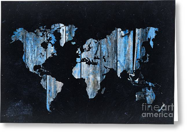 Planet Map Greeting Cards - Blue planks on black world map Greeting Card by Delphimages Photo Creations