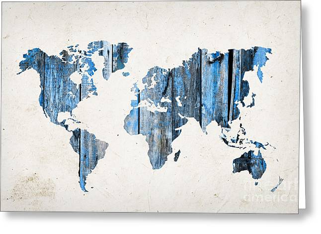 Planet Map Greeting Cards - Blue planks world map Greeting Card by Delphimages Photo Creations