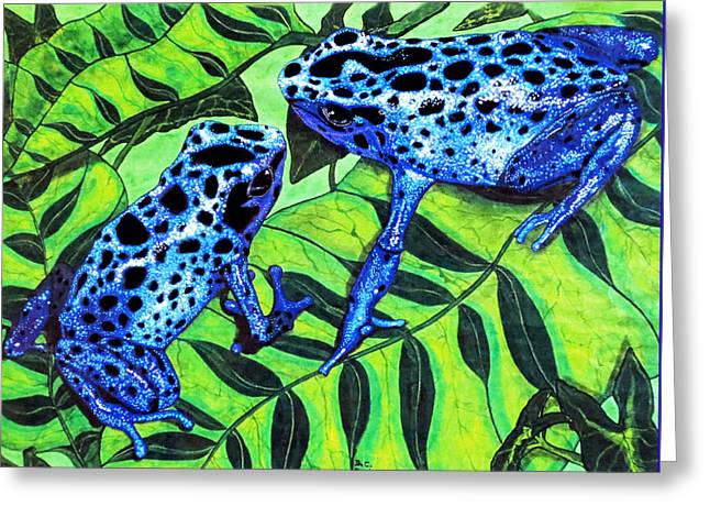 Tree Frog Greeting Cards - Blue Poison Arrow Frogs Greeting Card by Debbie Chamberlin