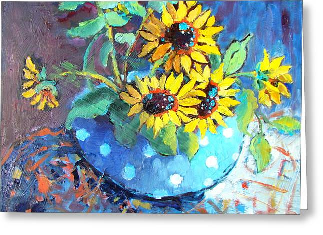 White Cloth Greeting Cards - Blue Polka Dot Bowl Greeting Card by Sharon Furner