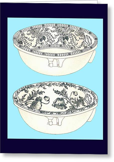 Mahogany Mixed Media Greeting Cards - Blue Porcelain Bowl One Greeting Card by Eric Kempson