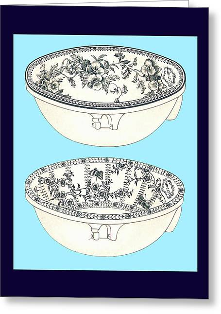 Mahogany Mixed Media Greeting Cards - Blue Porcelain Bowls Two Greeting Card by Eric Kempson
