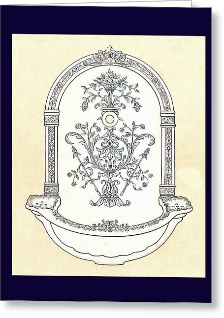 Mahogany Mixed Media Greeting Cards - Blue Porcelain Wash Basin One Greeting Card by Eric Kempson
