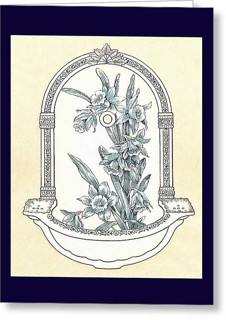 Mahogany Mixed Media Greeting Cards - Blue Porcelain Wash Basin Three Greeting Card by Eric Kempson