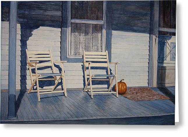 Egg Tempera Paintings Greeting Cards - Blue Porch with Chairs Greeting Card by John Entrekin