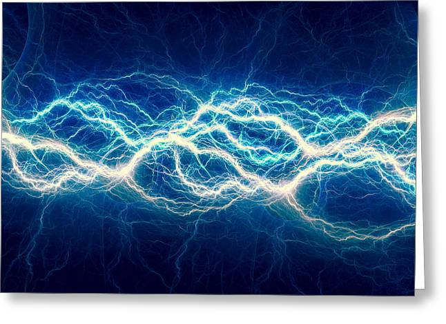 Images Lightning Digital Art Greeting Cards - Blue power Greeting Card by Martin Capek