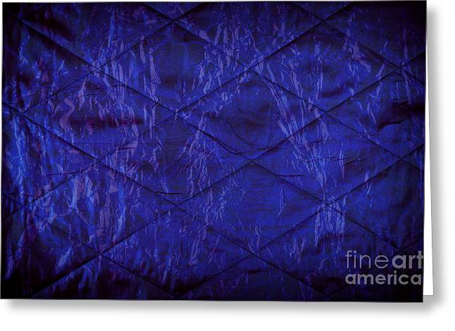 Blue Quilted Texture Abstract Greeting Card by Arletta Cwalina
