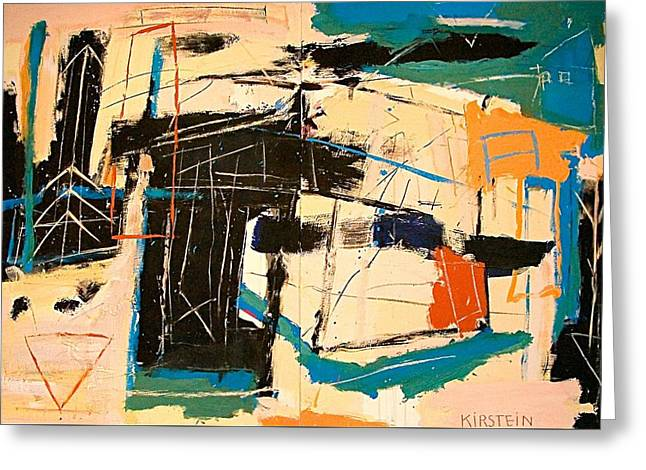 Abstract Movement Greeting Cards - Blue Rider Greeting Card by Janis Kirstein