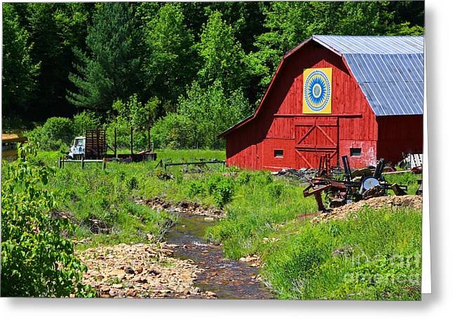 Painted Barn Quilt Greeting Cards - Blue Ridge Barn Greeting Card by Marty Fancy