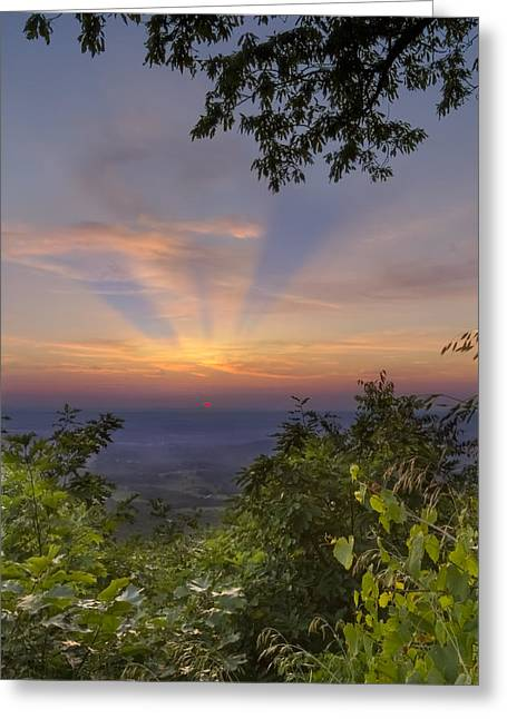 Nc Fine Art Greeting Cards - Blue Ridge Mountain Sunset Greeting Card by Debra and Dave Vanderlaan
