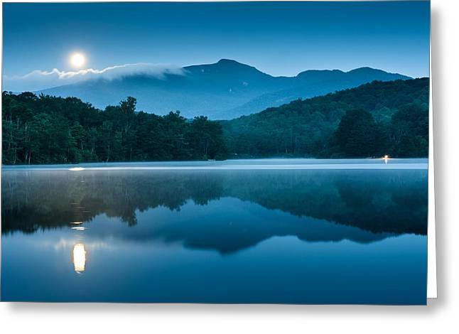Blue Ridge North Carolina Full Moon Mountain Reflections Greeting Card by Mark VanDyke