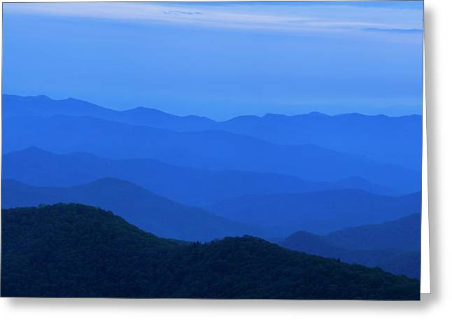 Blue Greeting Cards - Blue Ridge Panorama Greeting Card by Andrew Soundarajan