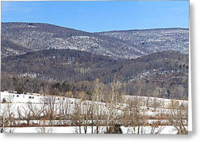 Wintry Greeting Cards - Blue Ridge Panorama Greeting Card by Jemmy Archer