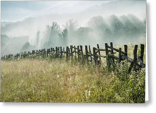 Western North Carolina Greeting Cards - Blue Ridge Parkway Fence and Light Shower Greeting Card by Mark VanDyke