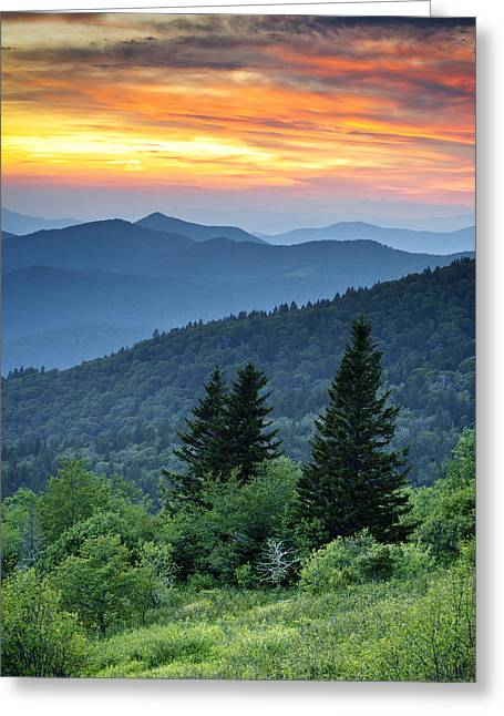 Smoky Greeting Cards - Blue Ridge Parkway NC Landscape - Fire in the Mountains Greeting Card by Dave Allen