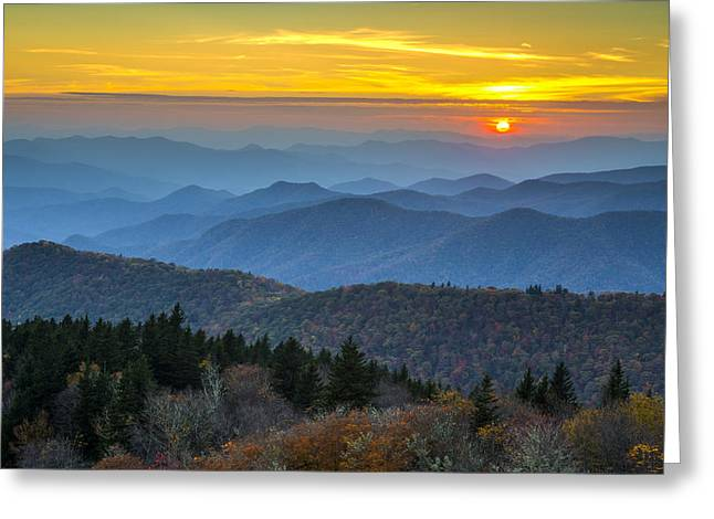 Nc Fine Art Greeting Cards - Blue Ridge Parkway Sunset - For the Love of Autumn Greeting Card by Dave Allen