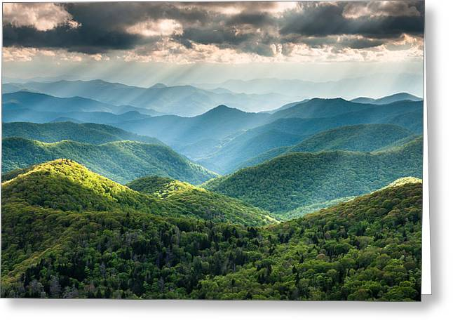Western North Carolina Greeting Cards - Blue Ridge Southern Appalachian Mountain Light Show Greeting Card by Mark VanDyke