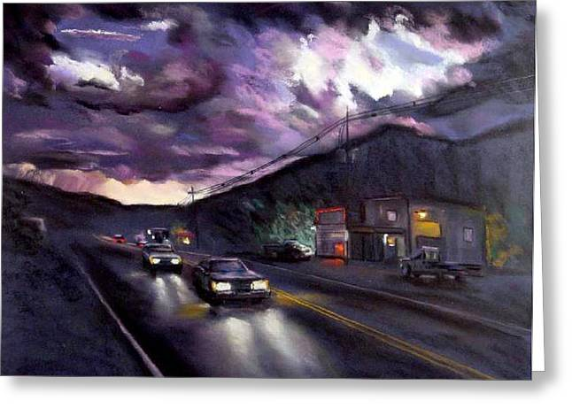 Stormy Weather Pastels Greeting Cards - Blue Ridge Sunset Greeting Card by George Grace