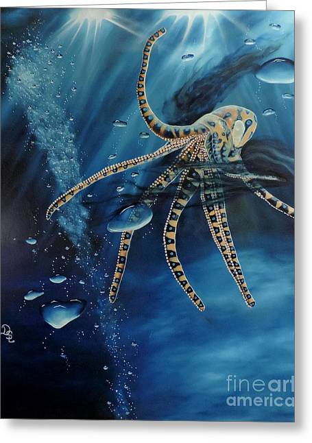 Sea Animals Greeting Cards - Blue Ring Octopus Greeting Card by Dianna Lewis