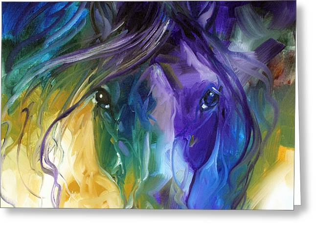Marcia Greeting Cards - Blue Roan Abstract Greeting Card by Marcia Baldwin