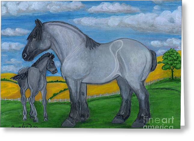 Polscy Malarze Greeting Cards - Blue Roan Mare with her Colt Greeting Card by Anna Folkartanna Maciejewska-Dyba