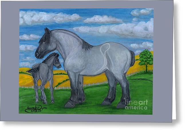 Blue Roan Mare With Her Colt Greeting Card by Anna Folkartanna Maciejewska-Dyba
