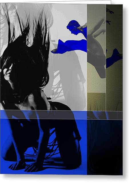 Dancing Girl Digital Greeting Cards - Blue Romance Greeting Card by Naxart Studio