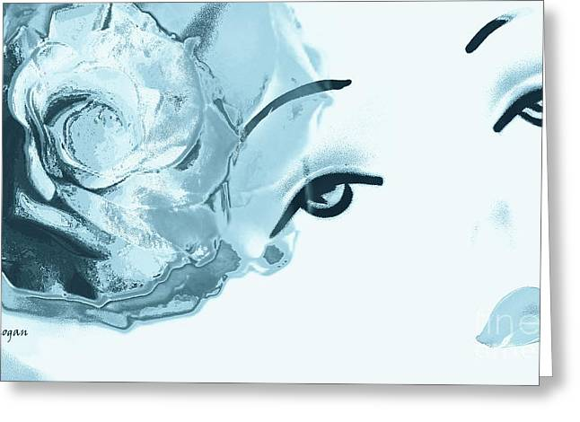 Fashion Art For Print Greeting Cards - Blue Rose Lipstick Girl Greeting Card by Jayne Logan Intveld