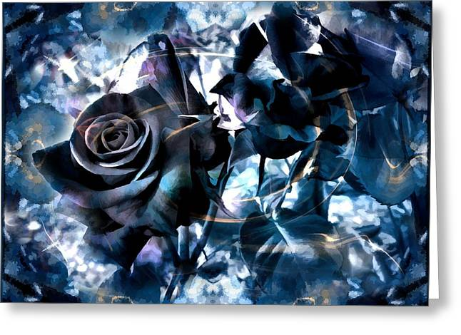 Creative Manipulation Greeting Cards - Blue Roses Greeting Card by Daniel  Arrhakis