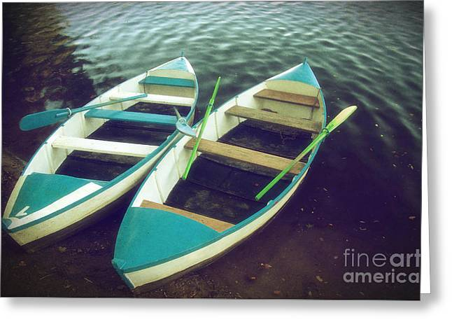 Row Boat Photographs Greeting Cards - Blue Row Boats Greeting Card by Carlos Caetano