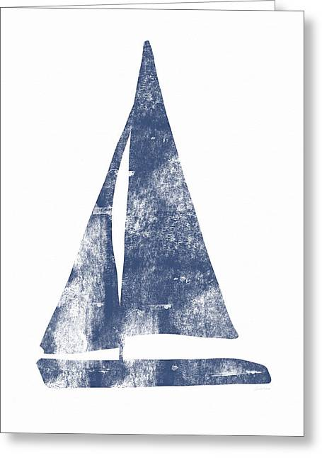 Blue Sail Boat- Art By Linda Woods Greeting Card by Linda Woods