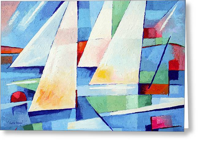Abstract Seascape Art Greeting Cards - Blue Sea Sails Greeting Card by Lutz Baar