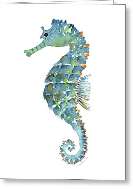 Blue Seahorse Greeting Card by Amy Kirkpatrick