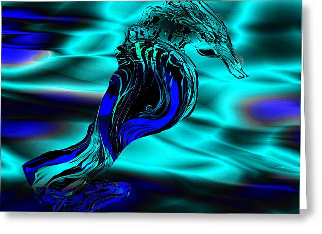 Abstract Waves Greeting Cards - Blue Seahorse in Motion Greeting Card by Stephen  Killeen