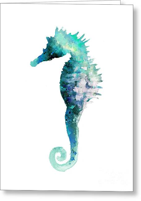 Blue Seahorse Watercolor Poster Greeting Card by Joanna Szmerdt