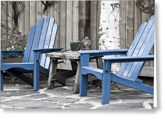 Garden Scene Greeting Cards - Blue Seating For Two Greeting Card by Sandra Foster