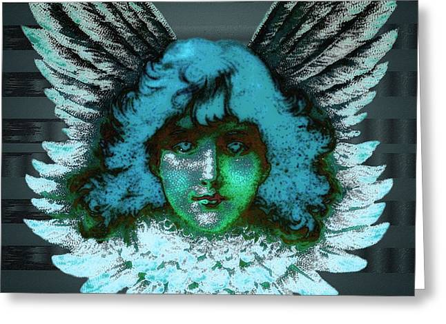 Seraphim Angel Greeting Cards - Blue Seraph Greeting Card by Mimulux patricia no