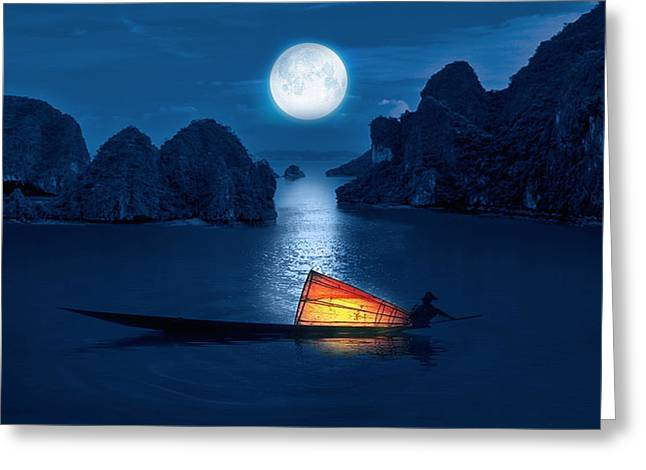 Sea View Greeting Cards - Blue Serenity Greeting Card by Sheela Ajith