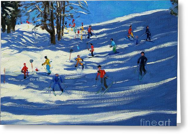 Alpine Paintings Greeting Cards - Blue shadows Greeting Card by Andrew Macara