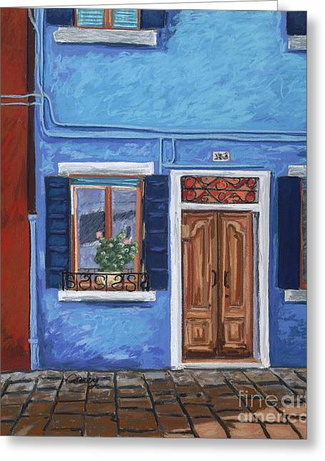 Old Door Pastels Greeting Cards - Blue Shadows Greeting Card by Cathy Carey