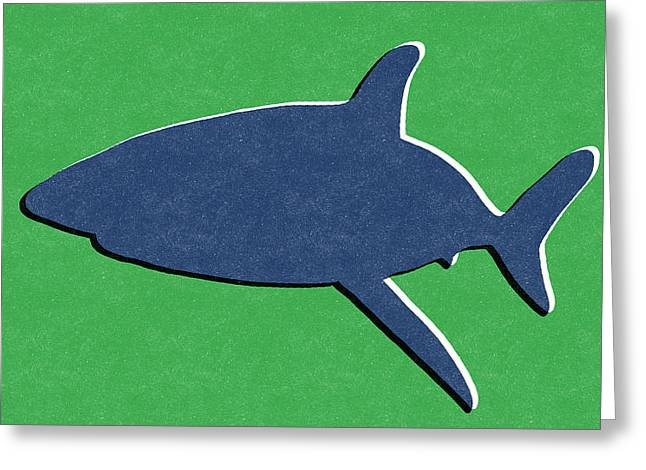 Cabin Wall Greeting Cards - Blue Shark Greeting Card by Linda Woods
