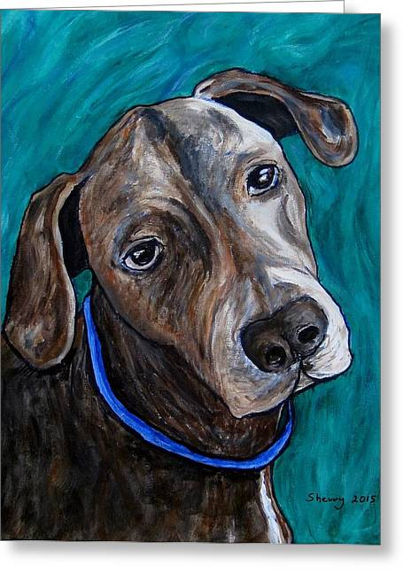 Puppies Paintings Greeting Cards - Blue Greeting Card by Sherry Heller