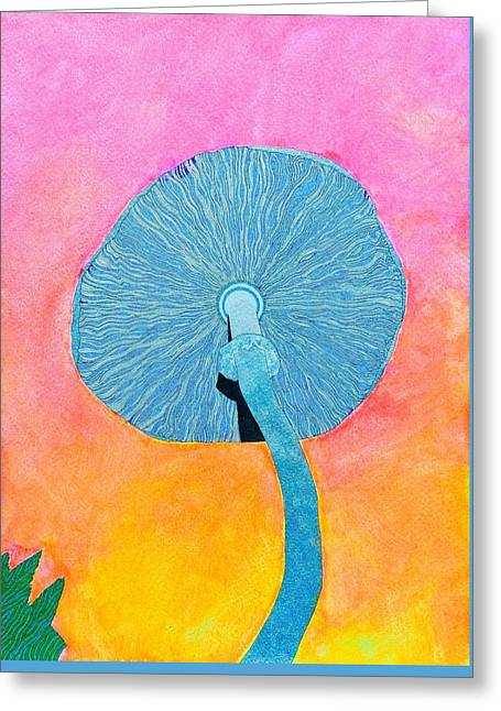 Blue 'shroom Greeting Card by Bobby Hermesch
