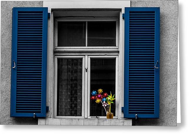 Swiss Photographs Greeting Cards - Blue Shuttered Window Greeting Card by Justin Woodhouse