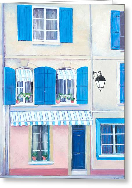 Arles Paintings Greeting Cards - Blue shutters Arles France Greeting Card by Jan Matson