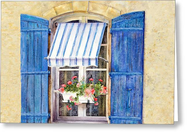 Shuttered Windows Greeting Cards - Blue Shutters Greeting Card by Bonnie Rinier