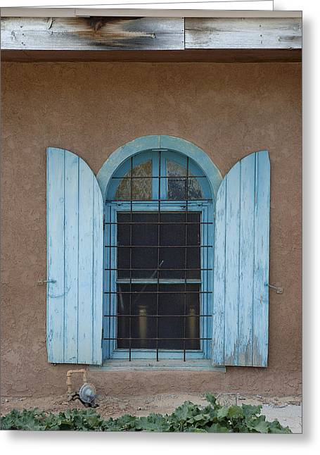 Adobe Greeting Cards - Blue Shutters Greeting Card by Jerry McElroy