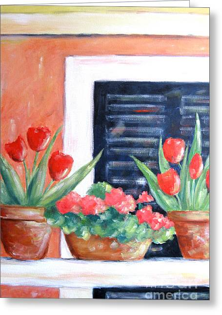 Atrium Paintings Greeting Cards - Blue Shutters Greeting Card by Marsha Young