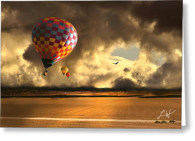Three Hot Air Balloons Greeting Cards - Blue Skies Ahead Greeting Card by Artist and Photographer Laura Wrede